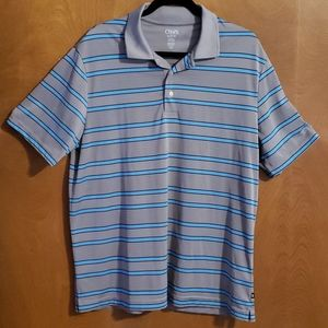 Mens Chaps striped Shirt Polo blue & silver large